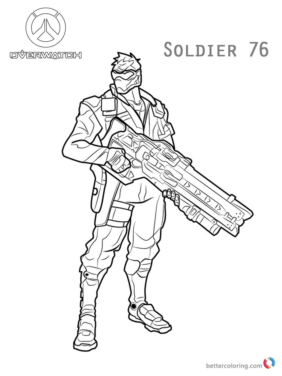 Soldier 76 From Overwatch Coloring Pages Free Printable