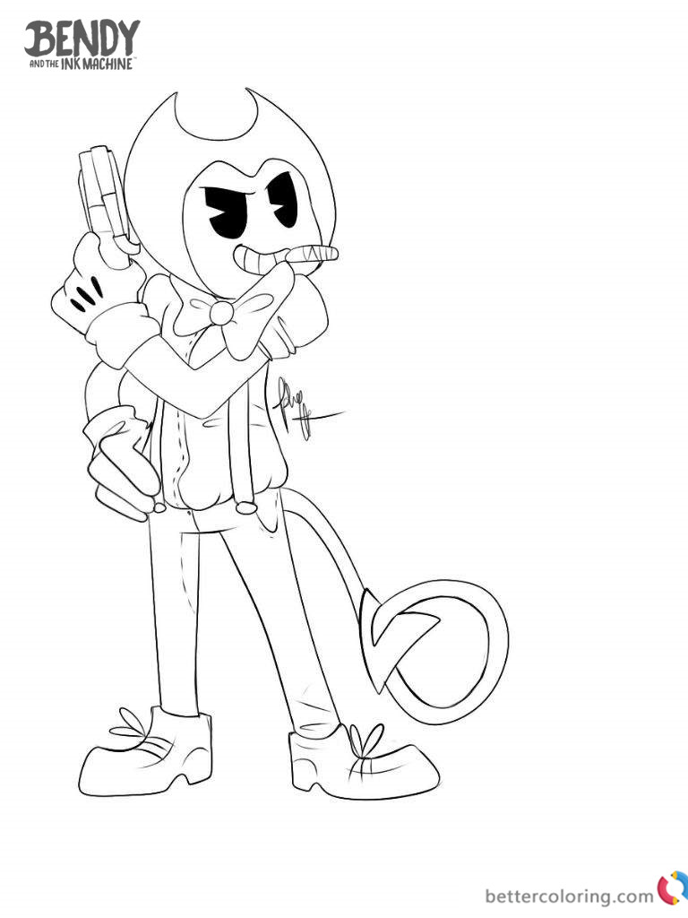 Bendy And The Ink Machine Coloring Pages Cool Bendy Free