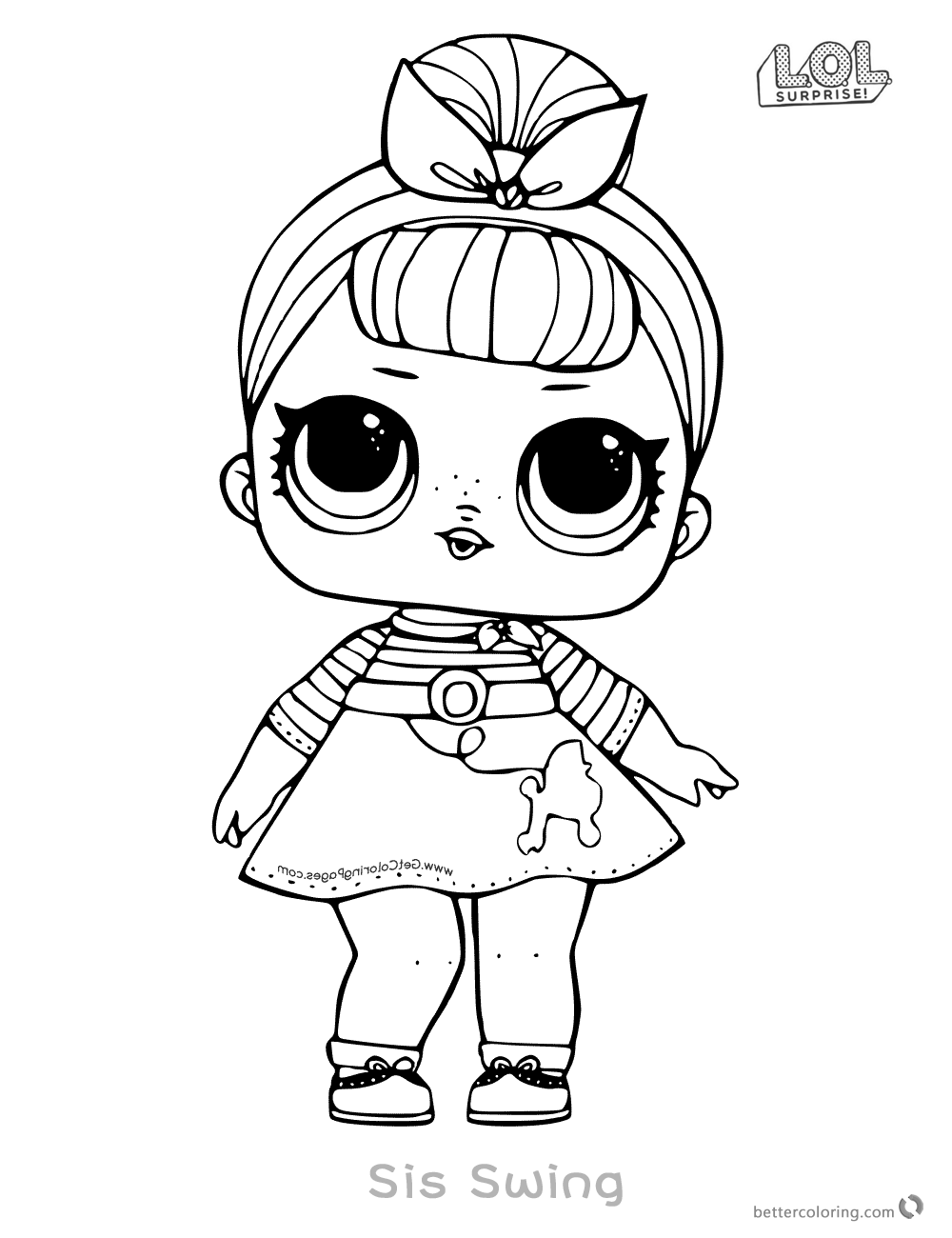 LOL Surprise Doll Coloring Pages Sis Swing Free