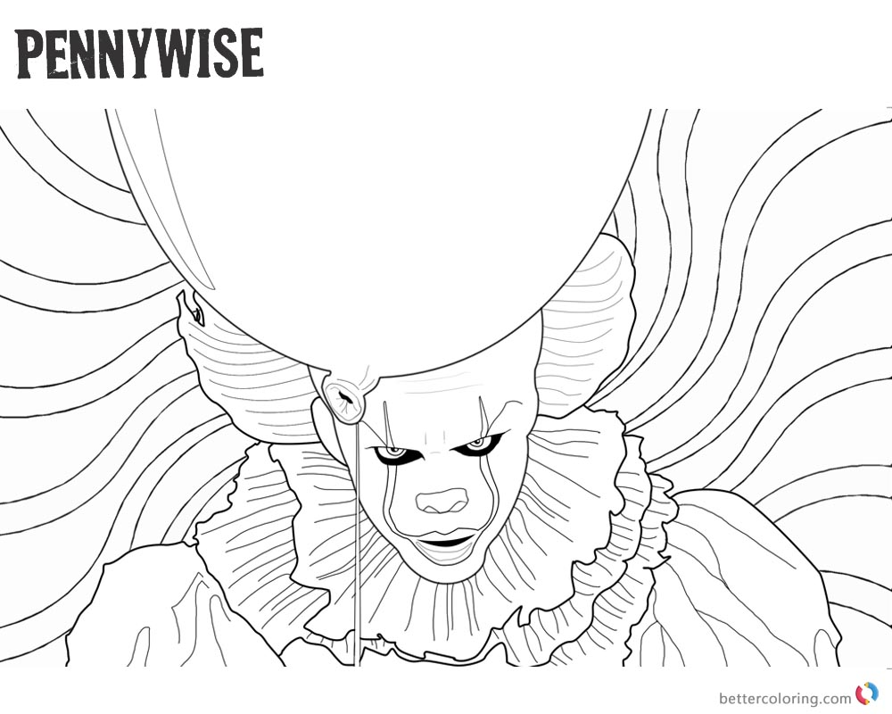 Clown Pennywise Coloring Pages Psychedelic Background