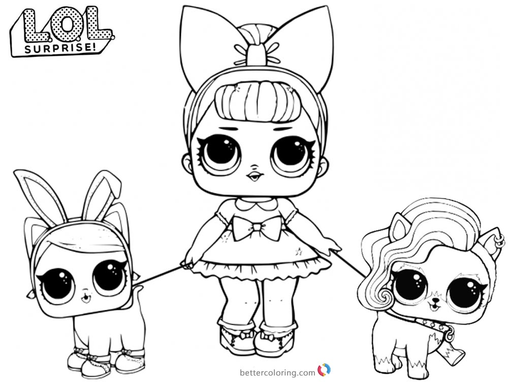 Lol pets printable coloring pages ~ LOL Coloring Pages with two pet dolls - Free Printable ...