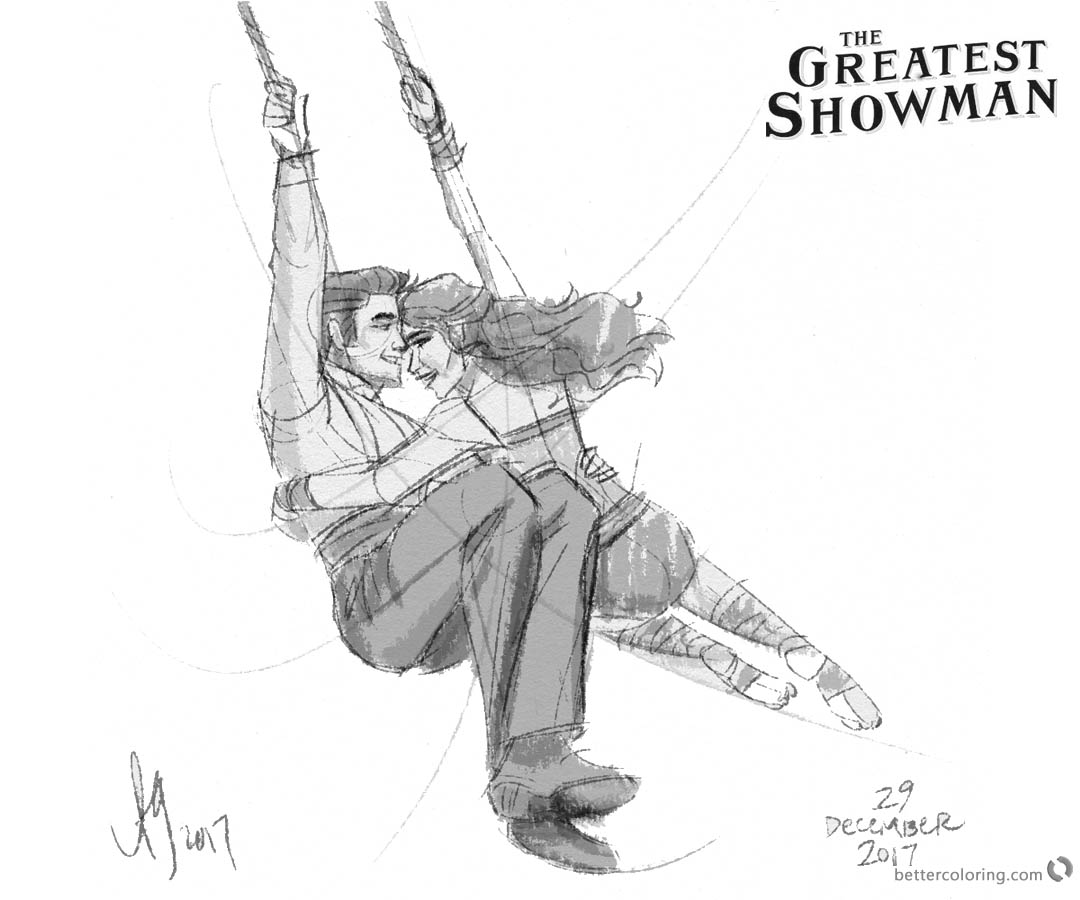 the greatest showman coloring pages | The Greatest Showman Coloring Pages Figure Drawing by ...