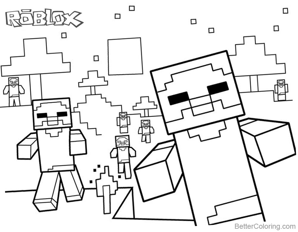 Cute minecraft characters of roblox coloring pages free for Cute minecraft coloring pages