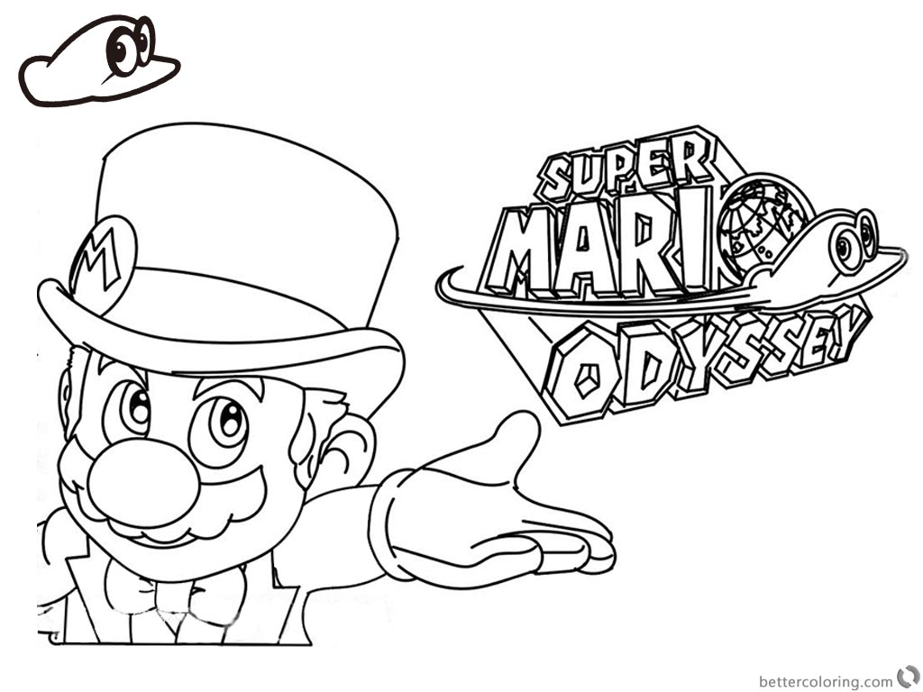 Super mario odyssey coloring pages line art with logo for Super mario coloring pages online