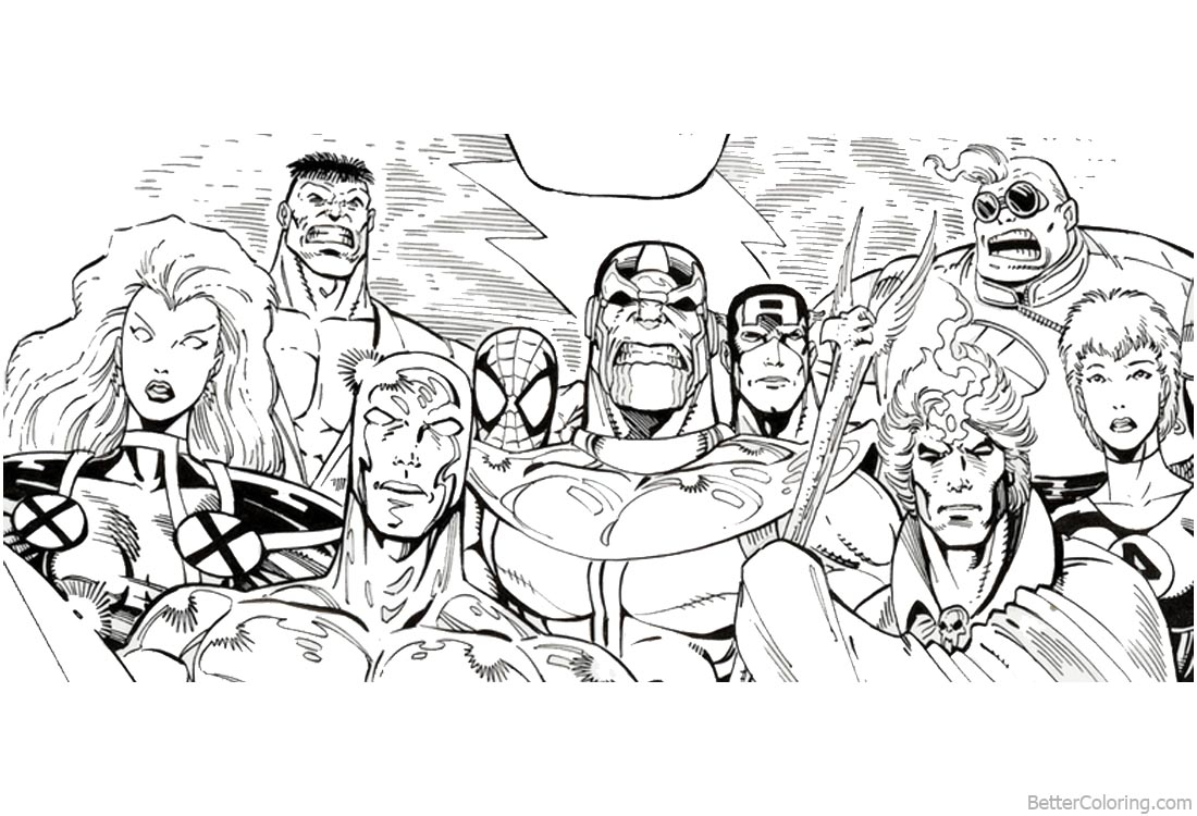 Avengers Infinity War Characters Coloring Pages Super