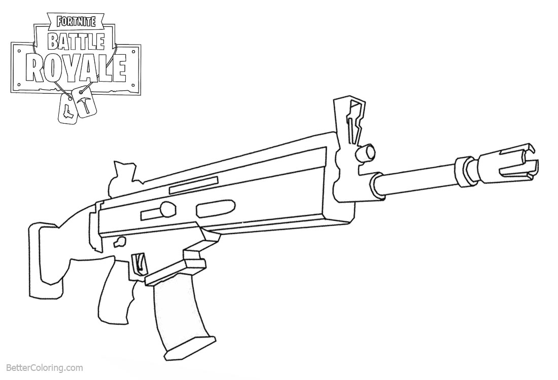 Fortnite Coloring Pages Weapons Rifle Scar Free